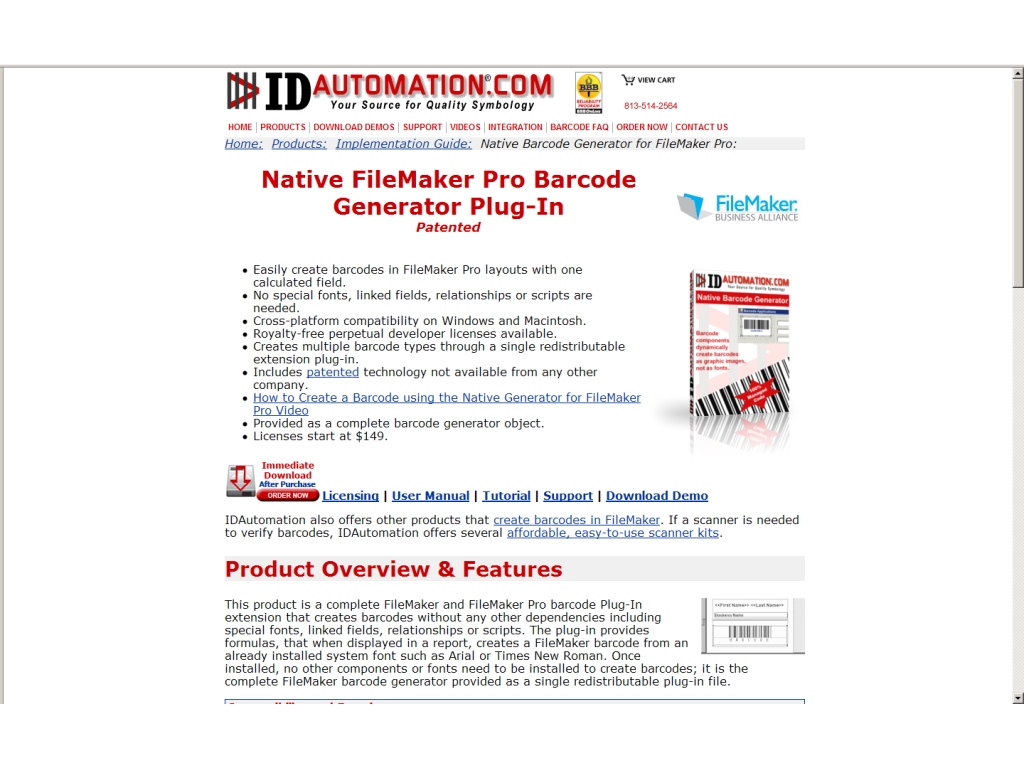 Native FileMaker Pro Barcode Generator Plug-In